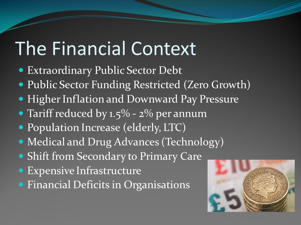 The Financial Context Extraordinary Public Sector Debt Public Sector Funding Restricted (Zero Growth) Higher Inflation and Downward Pay Pressure Tariff reduced by 1.5% - 2% per annum Population Increase (elderly, LTC) Medical and Drug Advances (Technology) Shift from Secondary to Primary Care Expensive Infrastructure Financial Deficits in Organisations