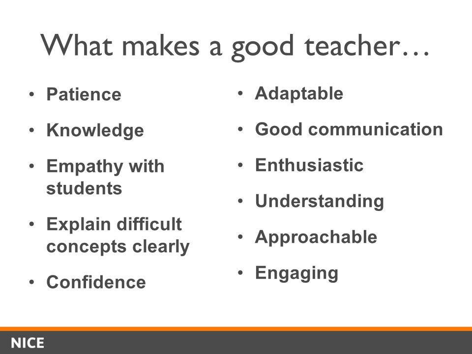 What makes a good teacher… Patience Knowledge Empathy with students Explain difficult concepts clearly Confidence Adaptable Good communication Enthusiastic Understanding Approachable Engaging