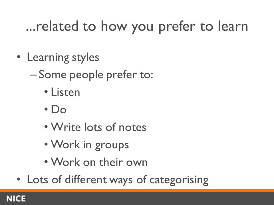 ...related to how you prefer to learn Learning styles – Some people prefer to: Listen Do Write lots of notes Work in groups Work on their own Lots of different ways of categorising