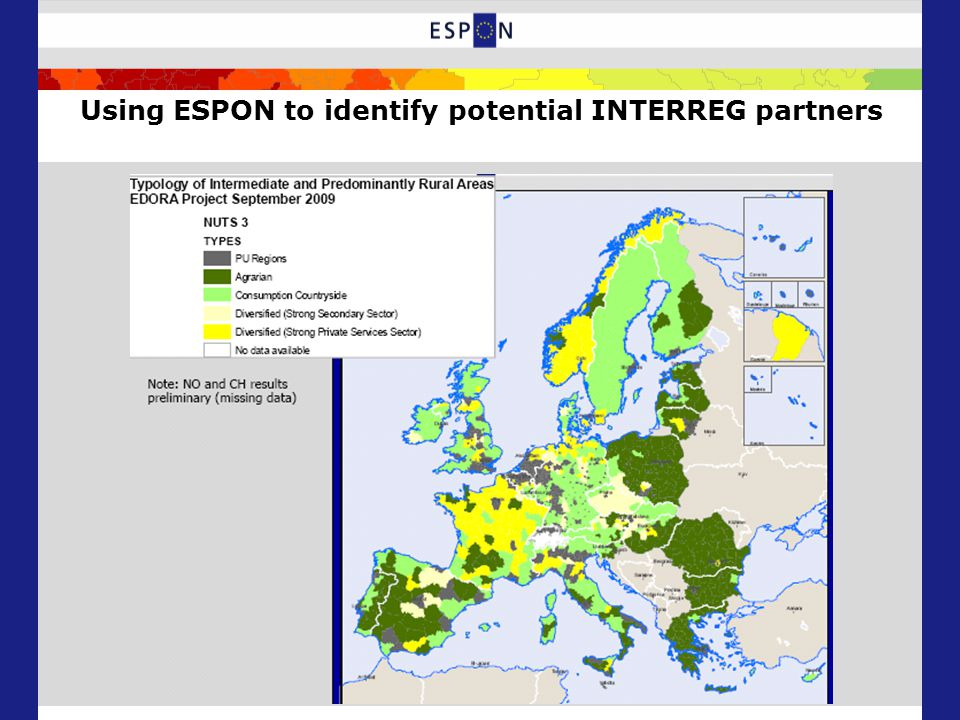 Using ESPON to identify potential INTERREG partners