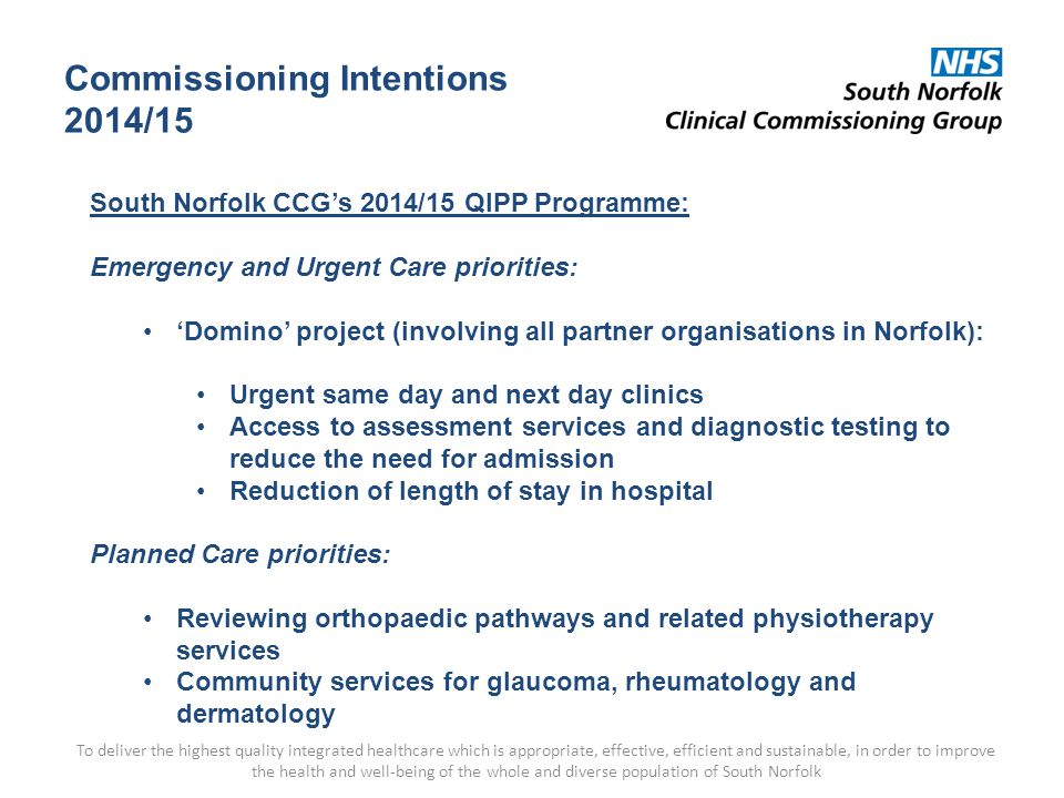 Commissioning Intentions 2014/15 To deliver the highest quality integrated healthcare which is appropriate, effective, efficient and sustainable, in order to improve the health and well-being of the whole and diverse population of South Norfolk South Norfolk CCG's 2014/15 QIPP Programme: Emergency and Urgent Care priorities: 'Domino' project (involving all partner organisations in Norfolk): Urgent same day and next day clinics Access to assessment services and diagnostic testing to reduce the need for admission Reduction of length of stay in hospital Planned Care priorities: Reviewing orthopaedic pathways and related physiotherapy services Community services for glaucoma, rheumatology and dermatology