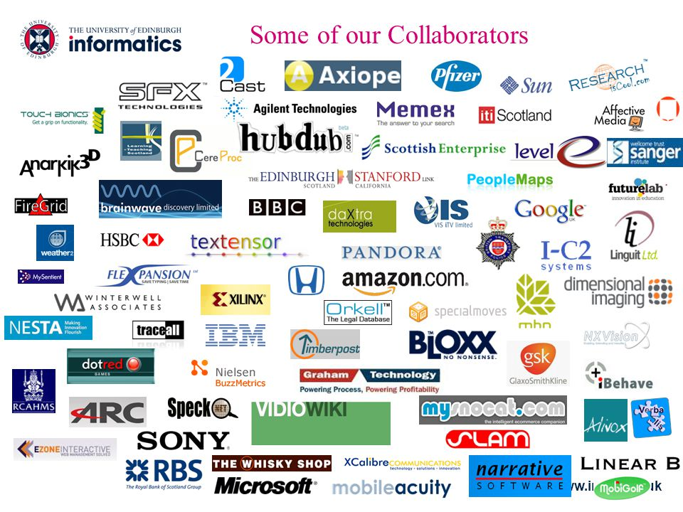 www.inf.ed.ac.uk Some of our Collaborators