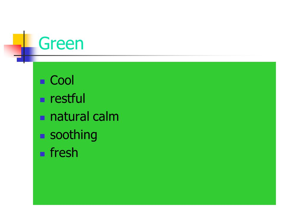 Green Cool restful natural calm soothing fresh