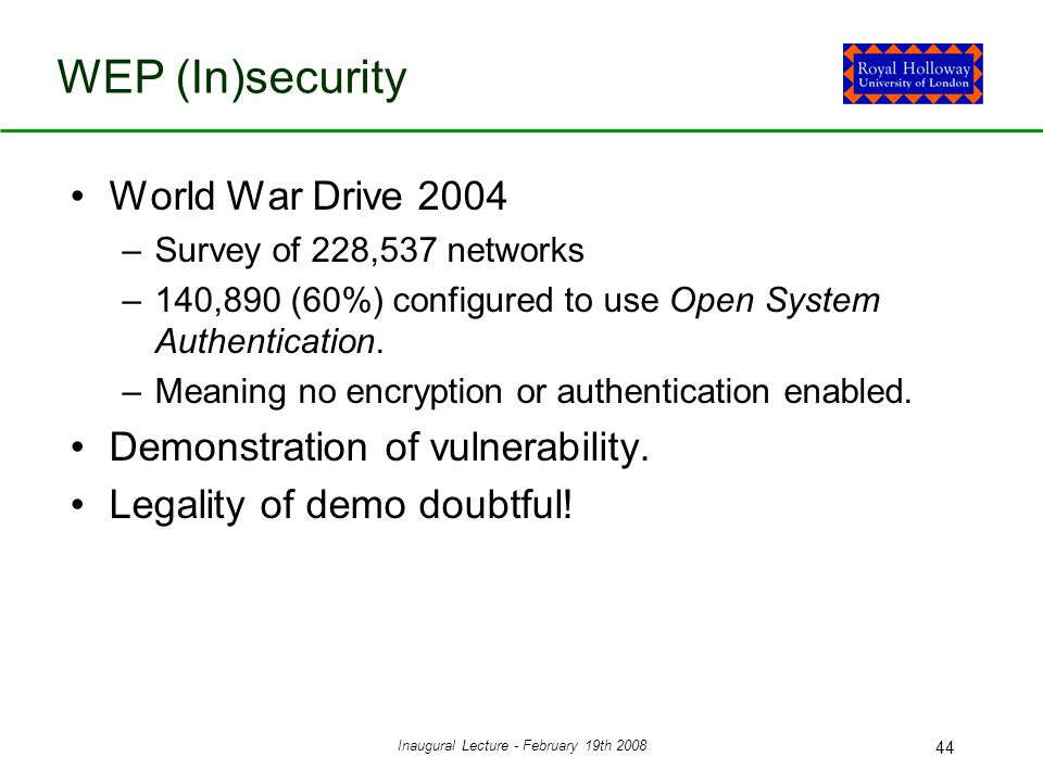 Inaugural Lecture - February 19th 2008 44 WEP (In)security World War Drive 2004 –Survey of 228,537 networks –140,890 (60%) configured to use Open System Authentication.