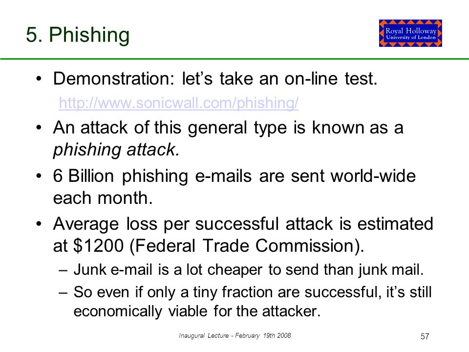 Inaugural Lecture - February 19th 2008 57 5. Phishing Demonstration: let's take an on-line test.