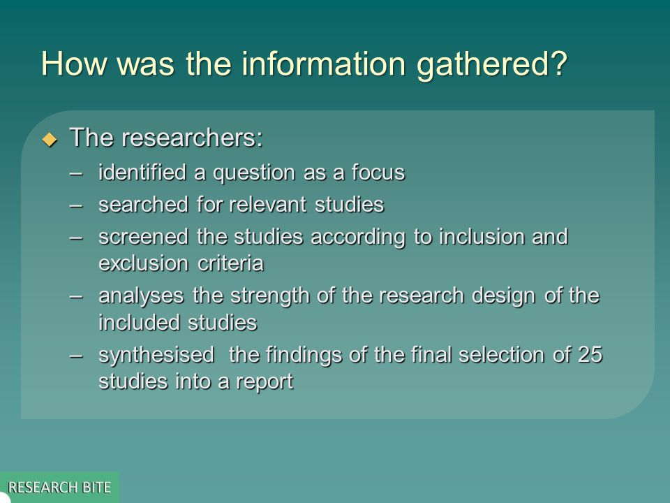 How was the information gathered.