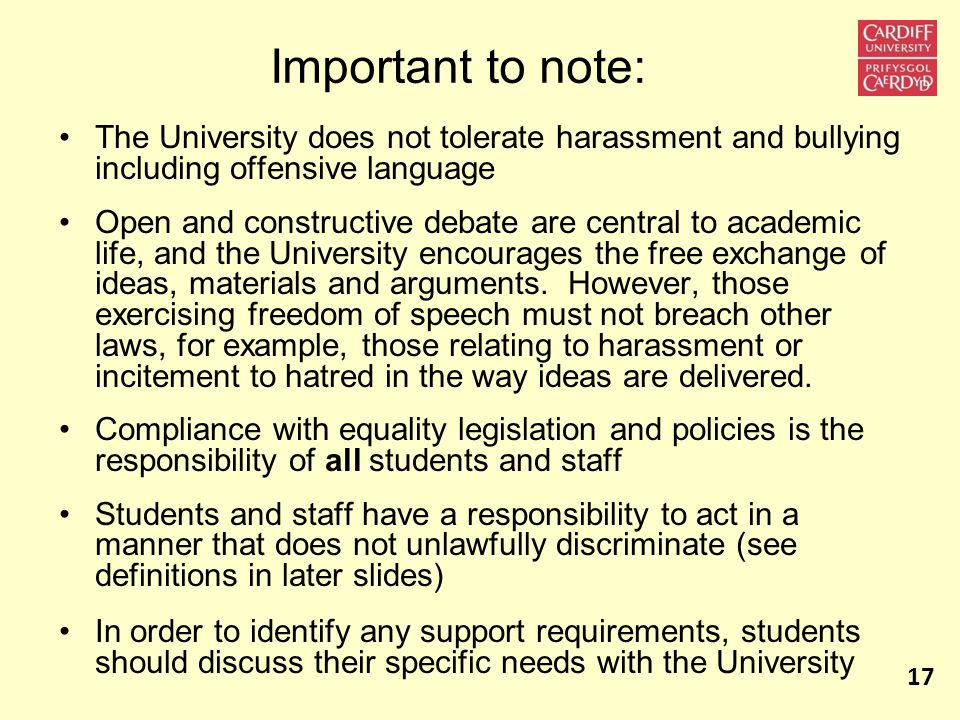 Important to note: The University does not tolerate harassment and bullying including offensive language Open and constructive debate are central to academic life, and the University encourages the free exchange of ideas, materials and arguments.