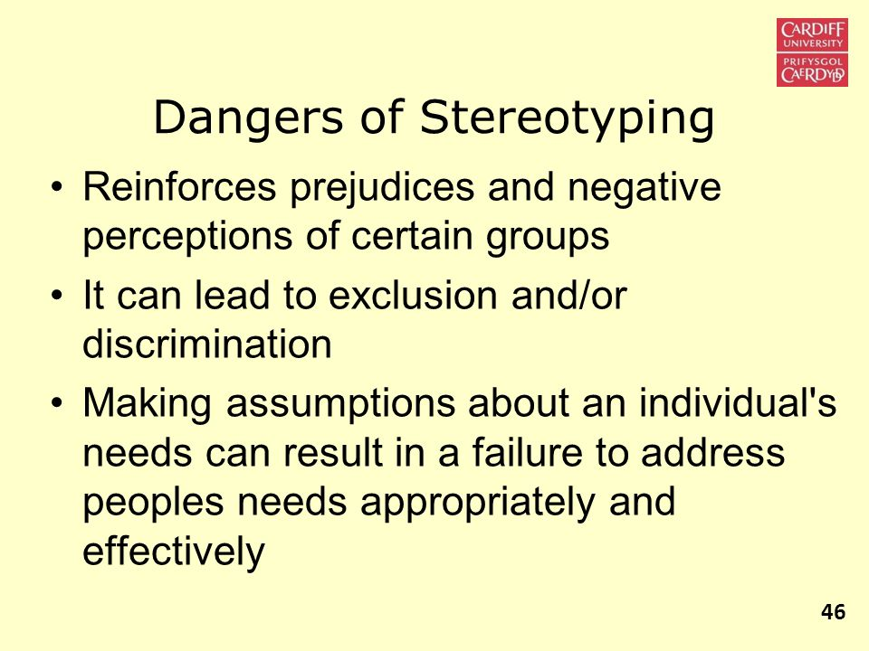 Dangers of Stereotyping Reinforces prejudices and negative perceptions of certain groups It can lead to exclusion and/or discrimination Making assumptions about an individual s needs can result in a failure to address peoples needs appropriately and effectively 46