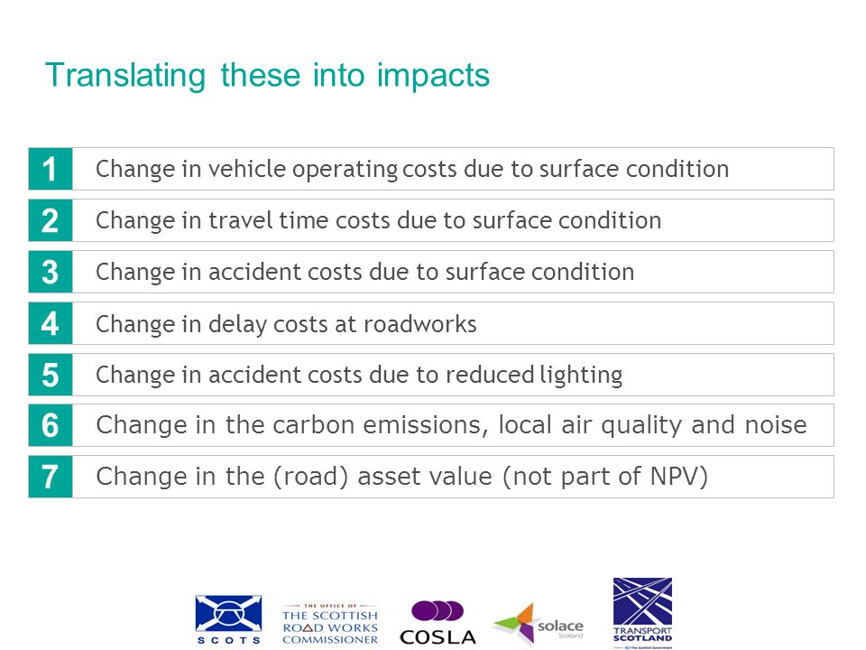Translating these into impacts Change in vehicle operating costs due to surface condition Change in travel time costs due to surface condition Change in accident costs due to surface condition Change in delay costs at roadworks Change in accident costs due to reduced lighting 1 2 3 4 5 Change in the carbon emissions, local air quality and noise Change in the (road) asset value (not part of NPV) 6 7