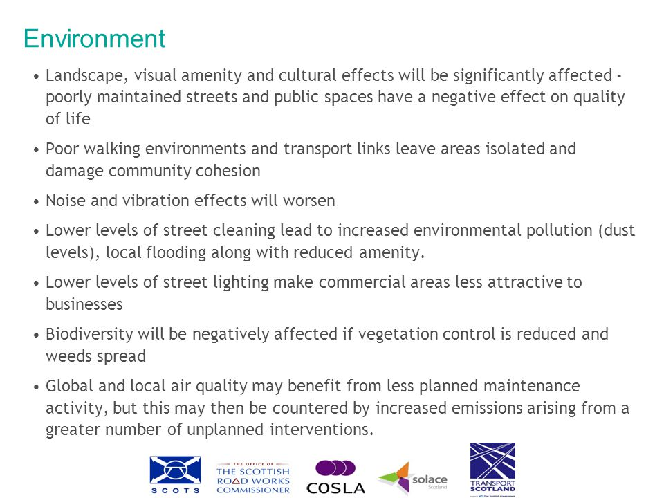Environment Landscape, visual amenity and cultural effects will be significantly affected - poorly maintained streets and public spaces have a negative effect on quality of life Poor walking environments and transport links leave areas isolated and damage community cohesion Noise and vibration effects will worsen Lower levels of street cleaning lead to increased environmental pollution (dust levels), local flooding along with reduced amenity.