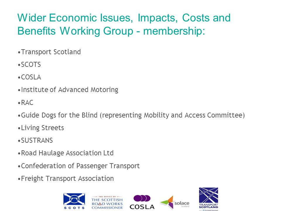 Wider Economic Issues, Impacts, Costs and Benefits Working Group - membership: Transport Scotland SCOTS COSLA Institute of Advanced Motoring RAC Guide Dogs for the Blind (representing Mobility and Access Committee) Living Streets SUSTRANS Road Haulage Association Ltd Confederation of Passenger Transport Freight Transport Association