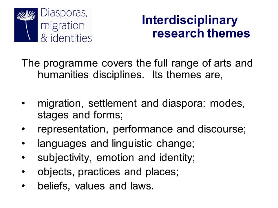 The programme covers the full range of arts and humanities disciplines.