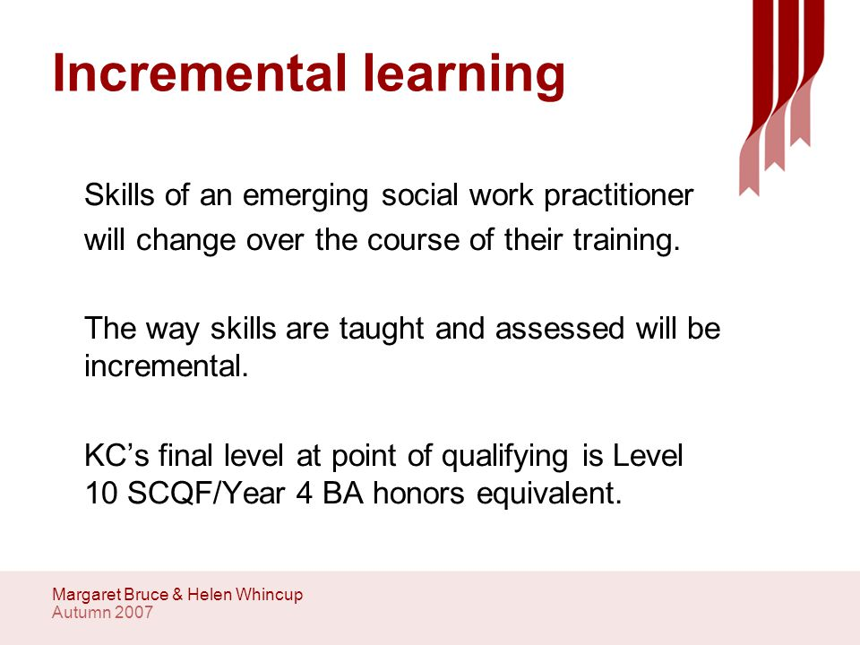 Autumn 2007 Margaret Bruce & Helen Whincup Incremental learning Skills of an emerging social work practitioner will change over the course of their training.