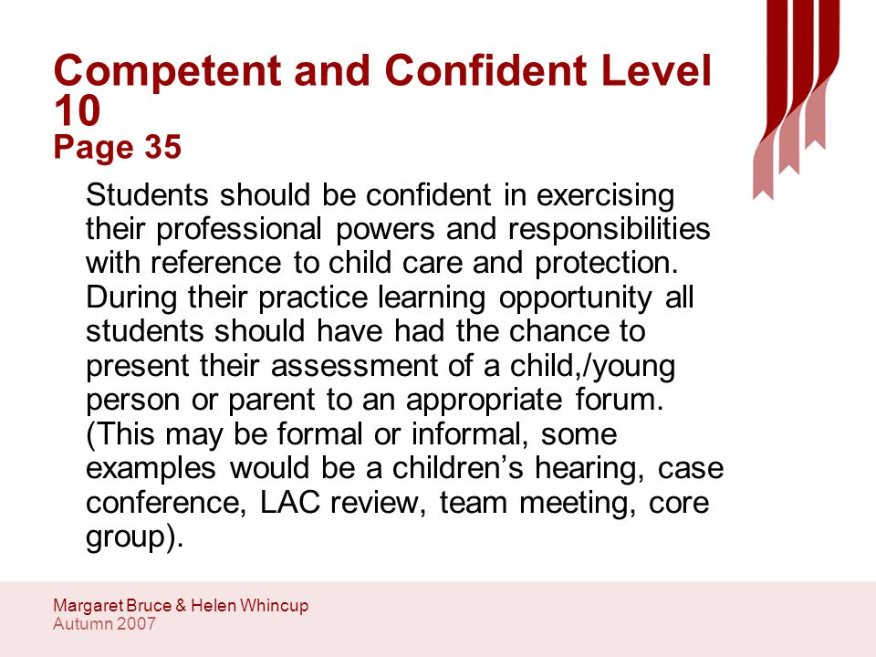 Autumn 2007 Margaret Bruce & Helen Whincup Competent and Confident Level 10 Page 35 Students should be confident in exercising their professional powers and responsibilities with reference to child care and protection.