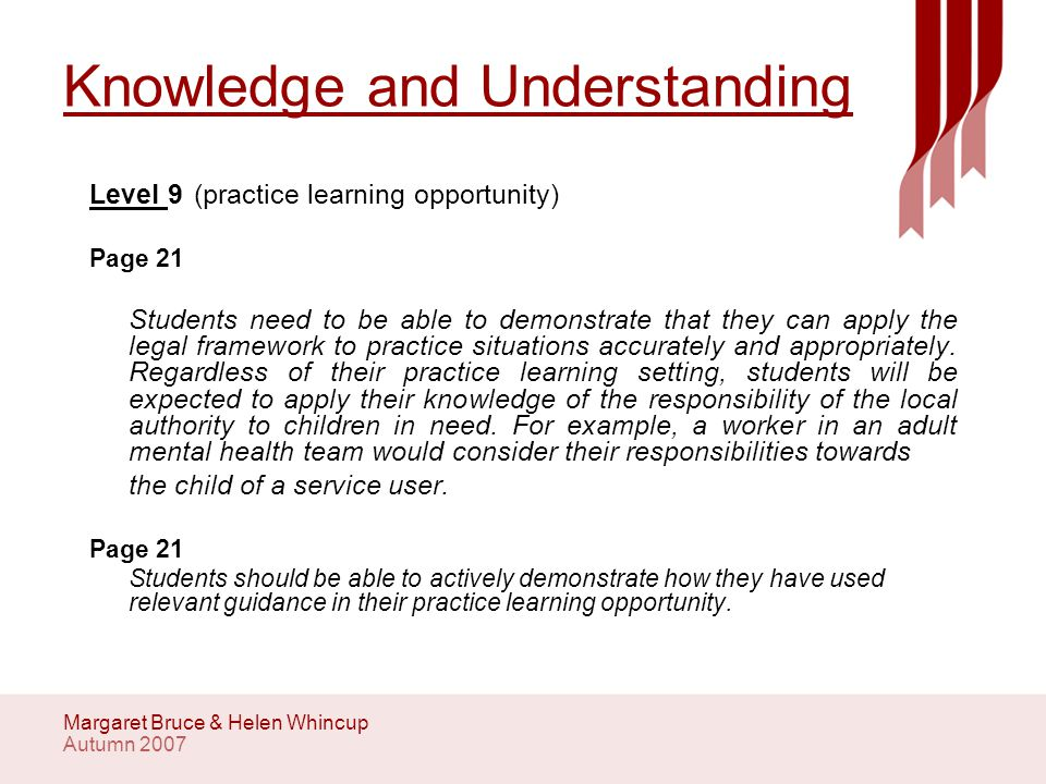 Autumn 2007 Margaret Bruce & Helen Whincup Knowledge and Understanding Level 9(practice learning opportunity) Page 21 Students need to be able to demonstrate that they can apply the legal framework to practice situations accurately and appropriately.