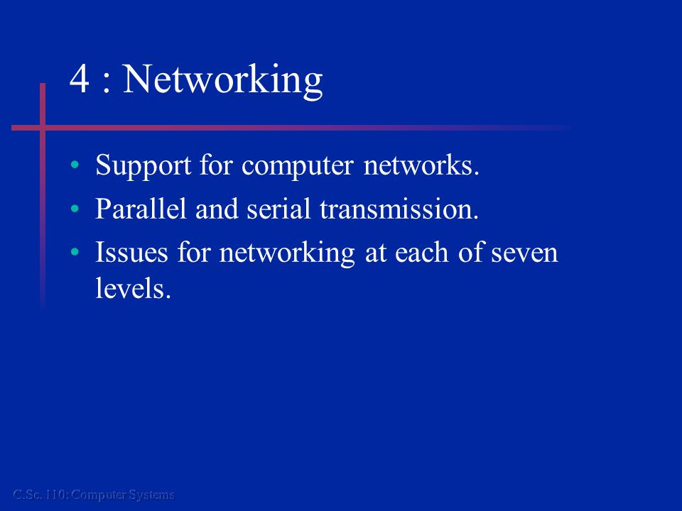 4 : Networking Support for computer networks. Parallel and serial transmission.