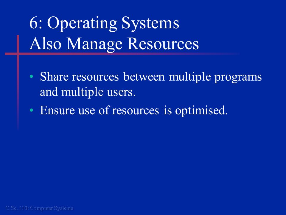 6: Operating Systems Also Manage Resources Share resources between multiple programs and multiple users.