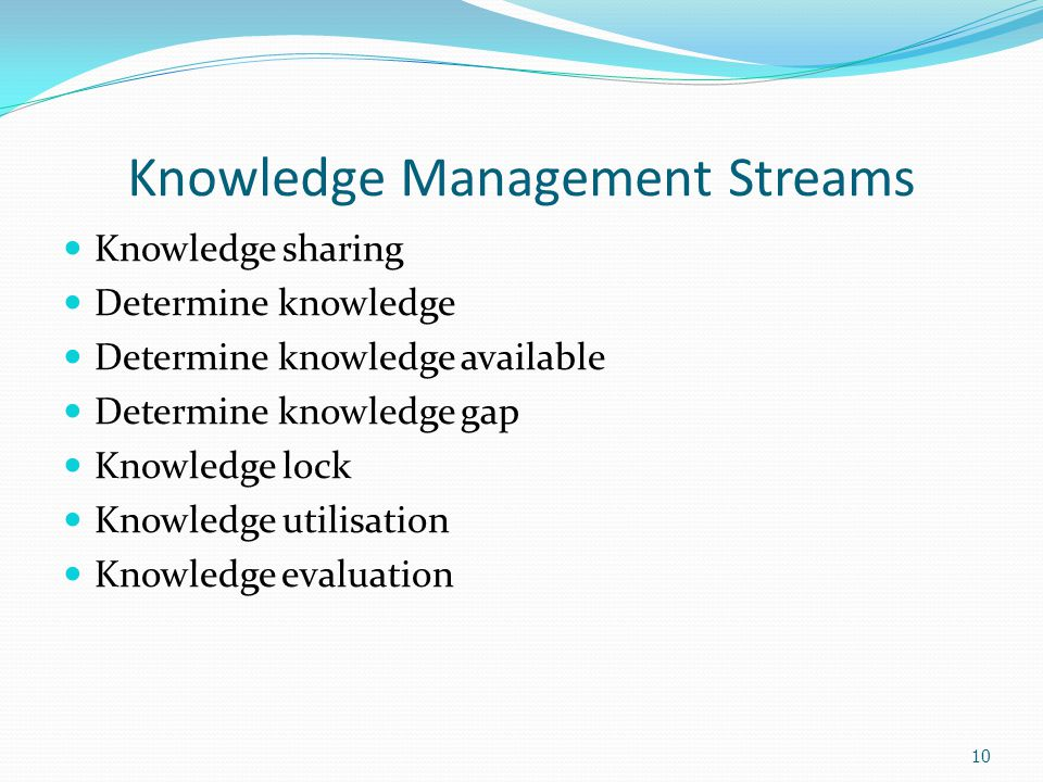 10 Knowledge Management Streams Knowledge sharing Determine knowledge Determine knowledge available Determine knowledge gap Knowledge lock Knowledge utilisation Knowledge evaluation