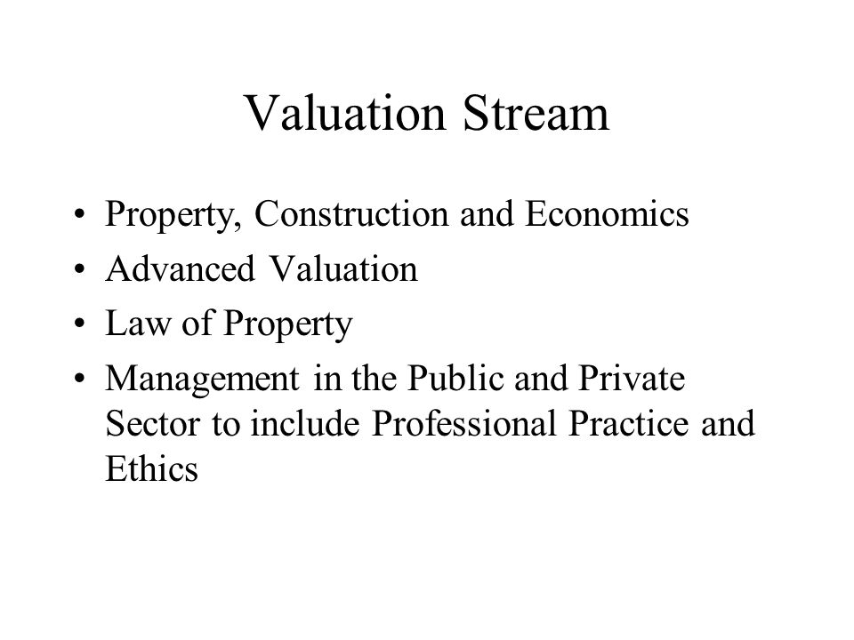 Valuation Stream Property, Construction and Economics Advanced Valuation Law of Property Management in the Public and Private Sector to include Professional Practice and Ethics