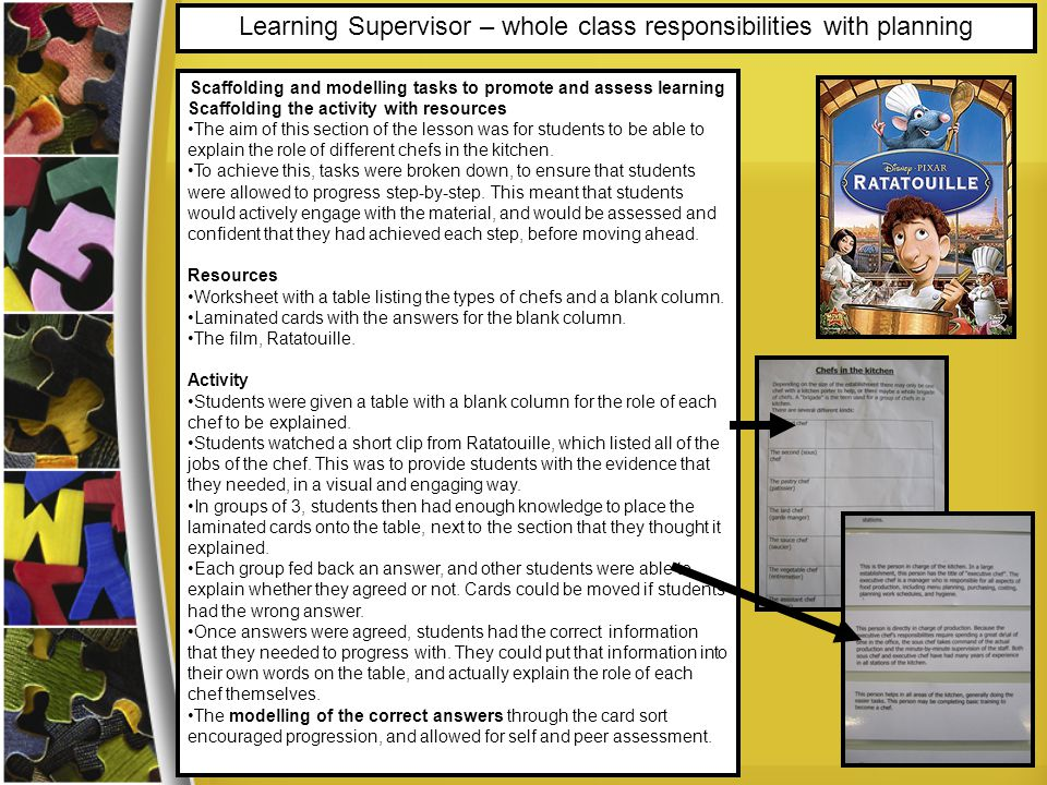 Learning Supervisor – whole class responsibilities with planning Scaffolding and modelling tasks to promote and assess learning Scaffolding the activity with resources The aim of this section of the lesson was for students to be able to explain the role of different chefs in the kitchen.
