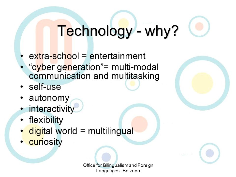 Office for Bilingualism and Foreign Languages - Bolzano Technology - why.