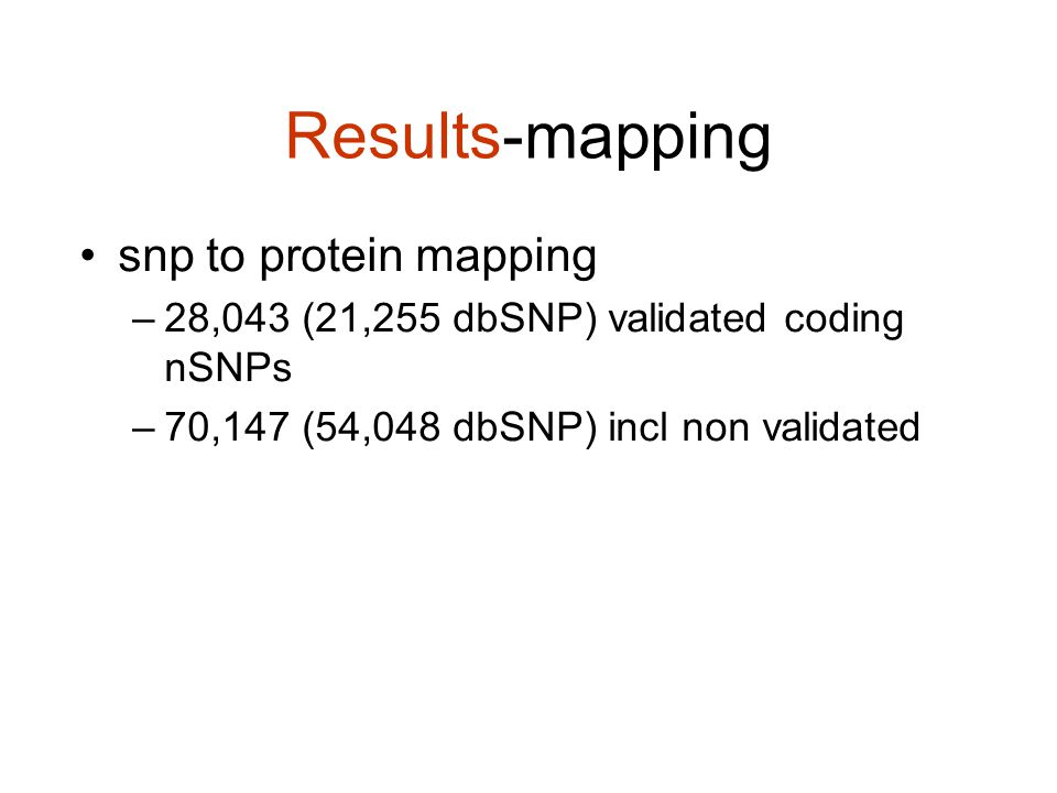 Results-mapping snp to protein mapping –28,043 (21,255 dbSNP) validated coding nSNPs –70,147 (54,048 dbSNP) incl non validated