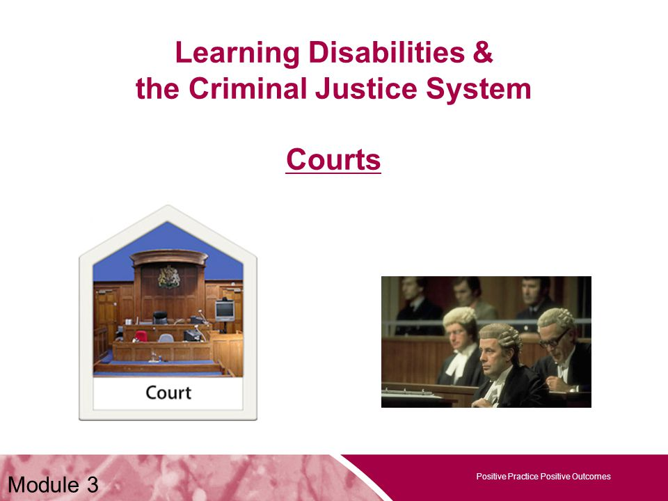 Positive Practice Positive Outcomes Learning Disabilities & the Criminal Justice System Courts Positive Practice Positive Outcomes Module 3