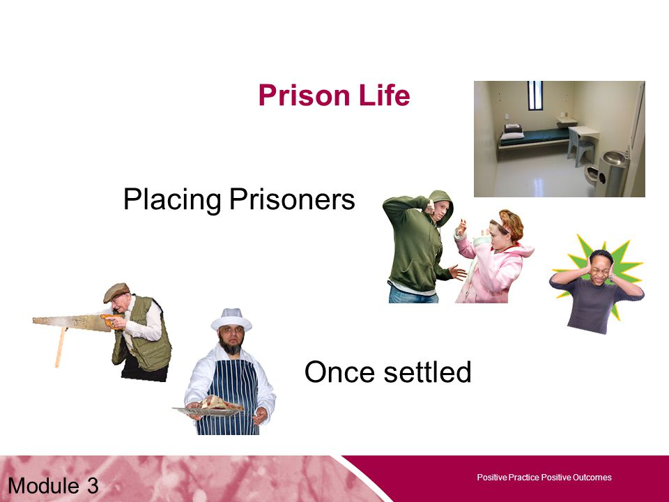 Positive Practice Positive Outcomes Prison Life Positive Practice Positive Outcomes Placing Prisoners Once settled Module 3