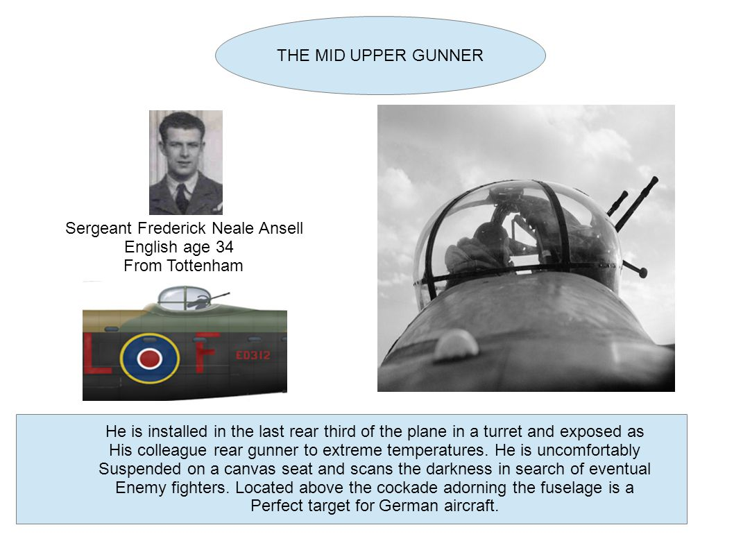 THE MID UPPER GUNNER Sergeant Frederick Neale Ansell English age 34 From Tottenham He is installed in the last rear third of the plane in a turret and exposed as His colleague rear gunner to extreme temperatures.