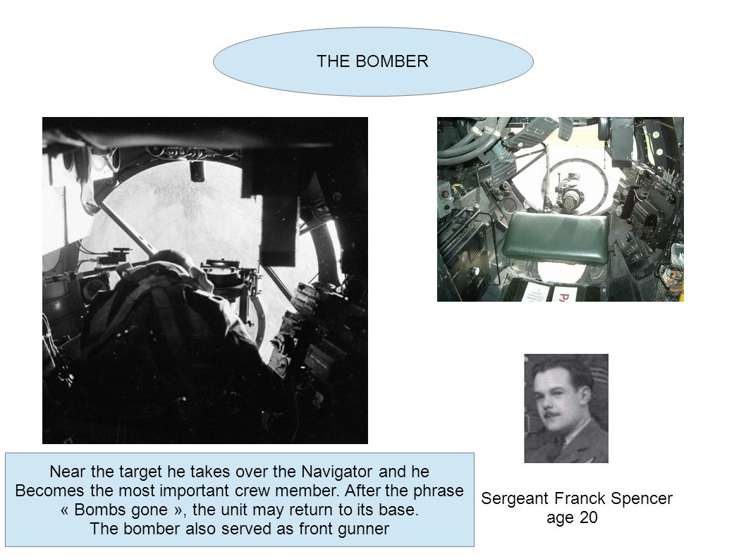 Sergeant Franck Spencer age 20 THE BOMBER Near the target he takes over the Navigator and he Becomes the most important crew member.