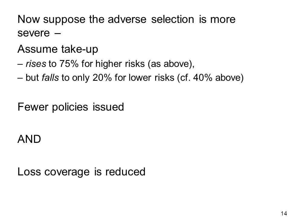 14 Now suppose the adverse selection is more severe – Assume take-up – rises to 75% for higher risks (as above), – but falls to only 20% for lower risks (cf.
