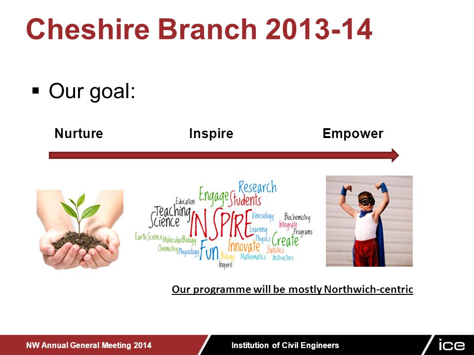 Institution of Civil Engineers NW Annual General Meeting 2014 Cheshire Branch 2013-14  Our goal: Nurture Inspire Empower Our programme will be mostly Northwich-centric