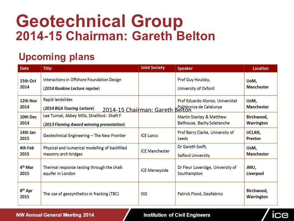 Institution of Civil Engineers NW Annual General Meeting 2014 Geotechnical Group 2014-15 Chairman: Gareth Belton Upcoming plans