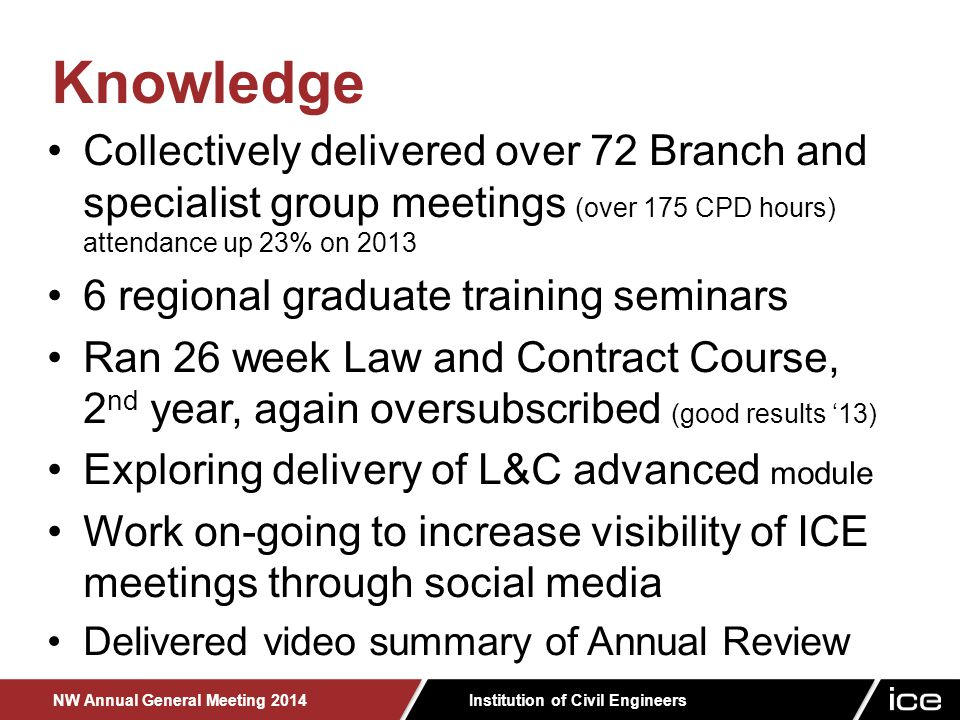 Institution of Civil Engineers NW Annual General Meeting 2014 Collectively delivered over 72 Branch and specialist group meetings (over 175 CPD hours) attendance up 23% on 2013 6 regional graduate training seminars Ran 26 week Law and Contract Course, 2 nd year, again oversubscribed (good results '13) Exploring delivery of L&C advanced module Work on-going to increase visibility of ICE meetings through social media Delivered video summary of Annual Review Knowledge