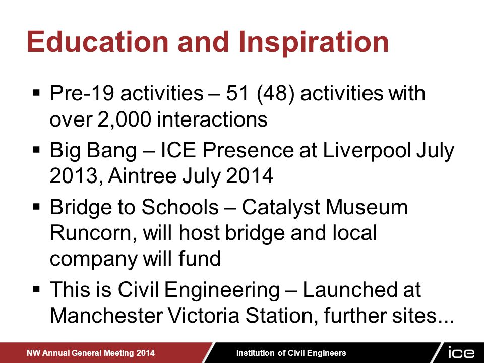 Institution of Civil Engineers NW Annual General Meeting 2014  Pre-19 activities – 51 (48) activities with over 2,000 interactions  Big Bang – ICE Presence at Liverpool July 2013, Aintree July 2014  Bridge to Schools – Catalyst Museum Runcorn, will host bridge and local company will fund  This is Civil Engineering – Launched at Manchester Victoria Station, further sites...