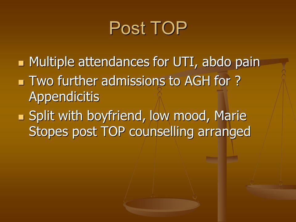 Post TOP Multiple attendances for UTI, abdo pain Multiple attendances for UTI, abdo pain Two further admissions to AGH for .