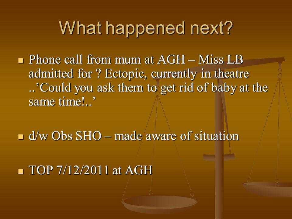 What happened next. Phone call from mum at AGH – Miss LB admitted for .