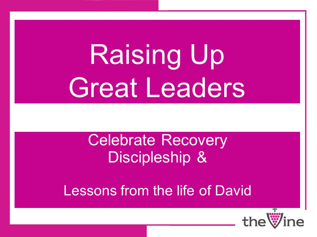 Raising Up Great Leaders Celebrate Recovery Discipleship & Lessons from the life of David