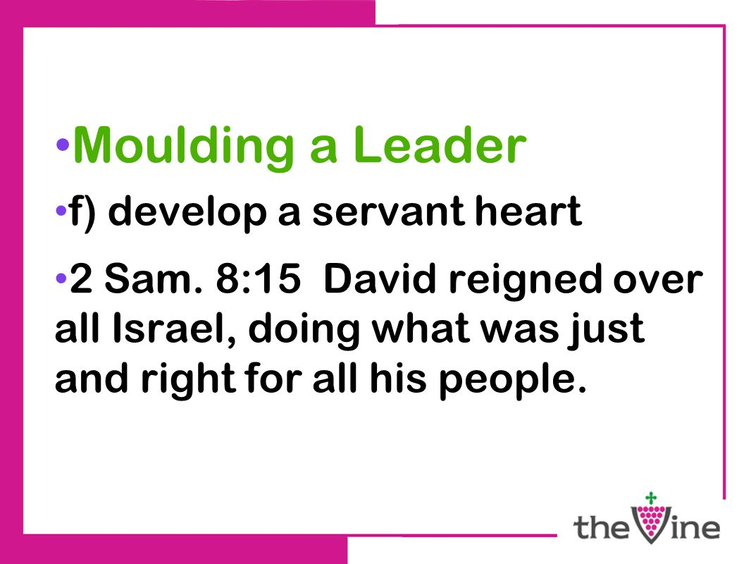 Moulding a Leader f) develop a servant heart 2 Sam.