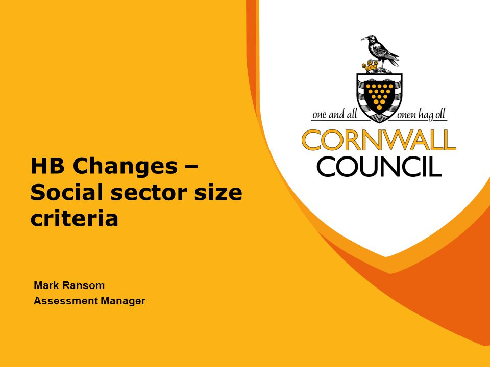 HB Changes – Social sector size criteria Mark Ransom Assessment Manager