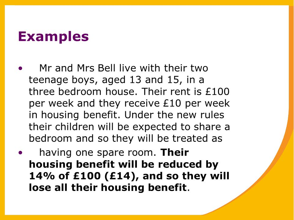 Examples Mr and Mrs Bell live with their two teenage boys, aged 13 and 15, in a three bedroom house.