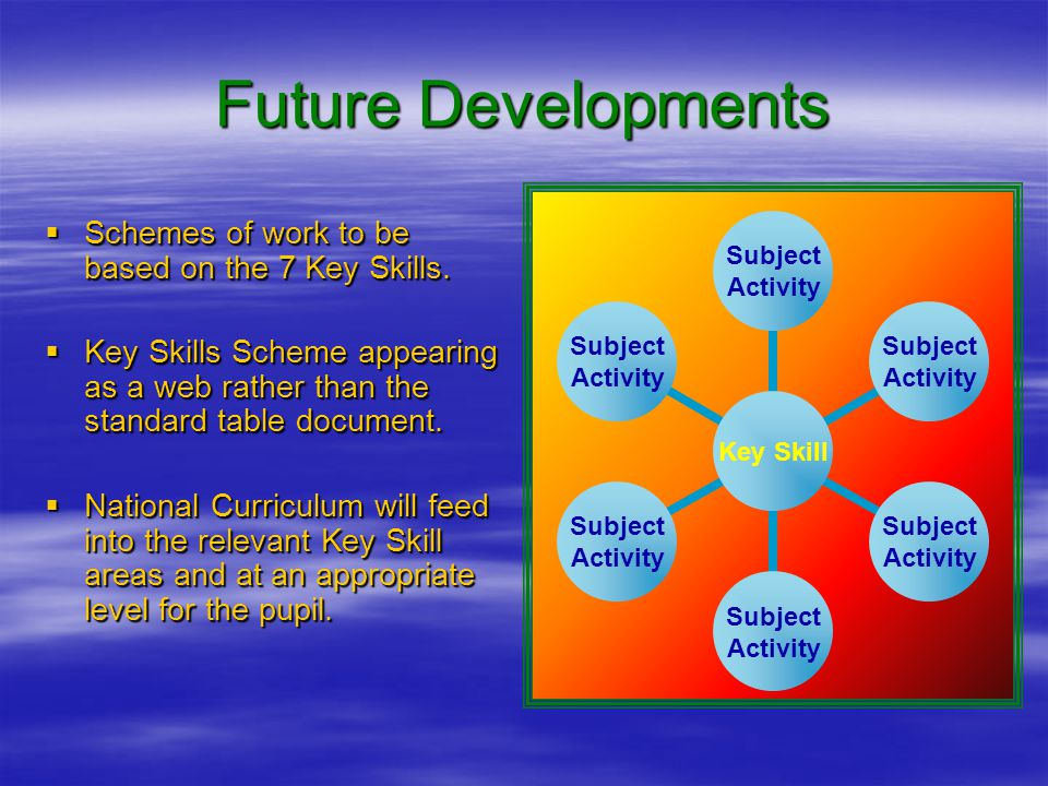 Future Developments  Schemes of work to be based on the 7 Key Skills.