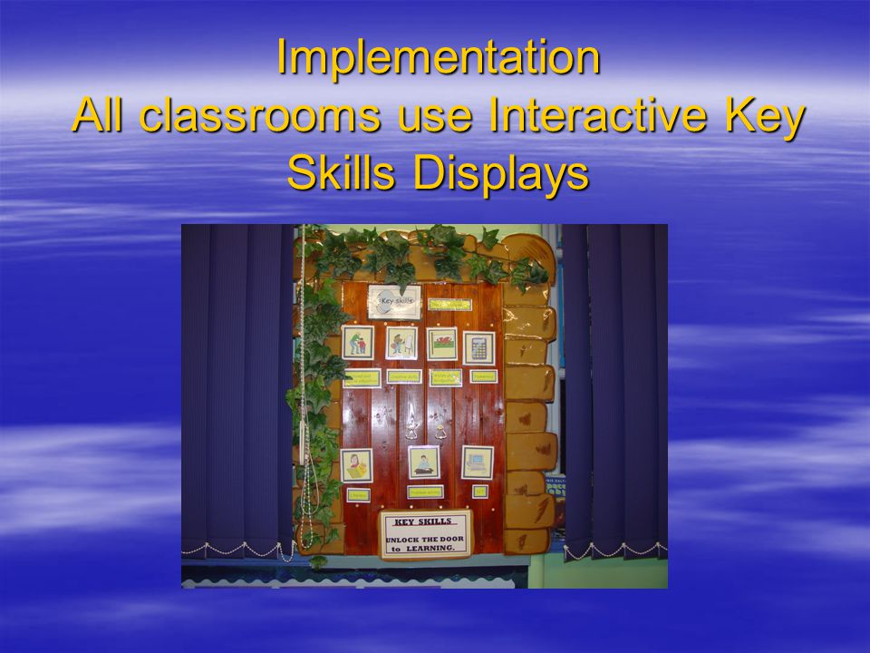 Implementation All classrooms use Interactive Key Skills Displays