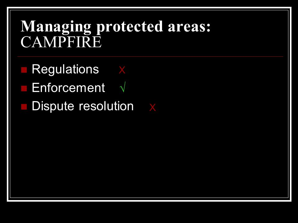 Managing protected areas: CAMPFIRE Regulations Enforcement Dispute resolution  X X