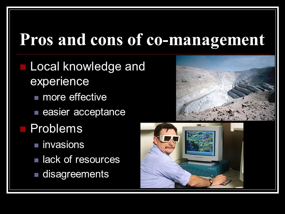 Pros and cons of co-management Local knowledge and experience more effective easier acceptance Problems invasions lack of resources disagreements