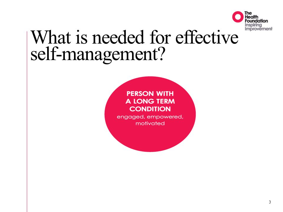 3 What is needed for effective self-management