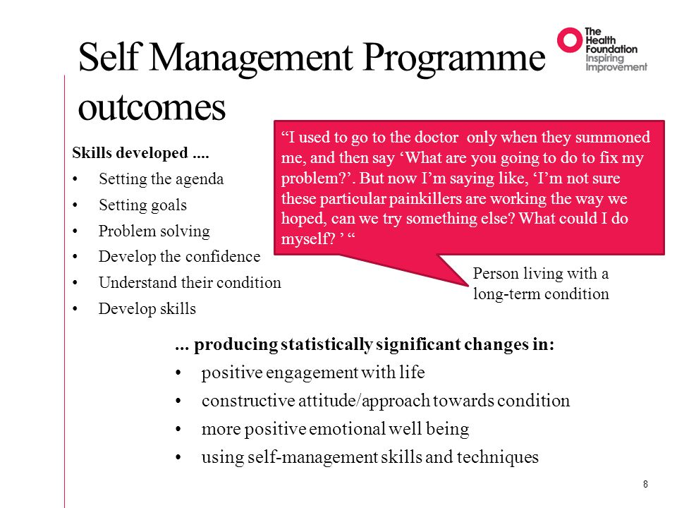 Self Management Programme outcomes 8...
