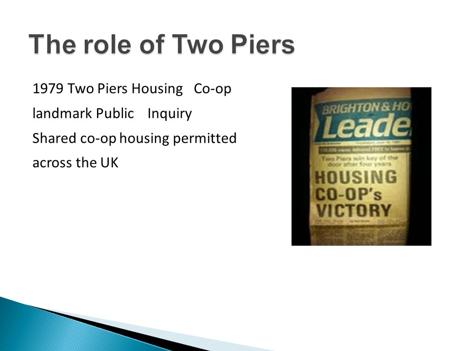 1979 Two Piers Housing Co-op landmark Public Inquiry Shared co-op housing permitted across the UK