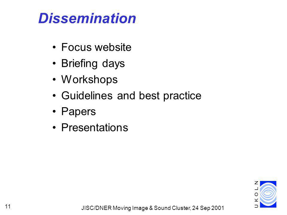 JISC/DNER Moving Image & Sound Cluster, 24 Sep 2001 11 Dissemination Focus website Briefing days Workshops Guidelines and best practice Papers Presentations