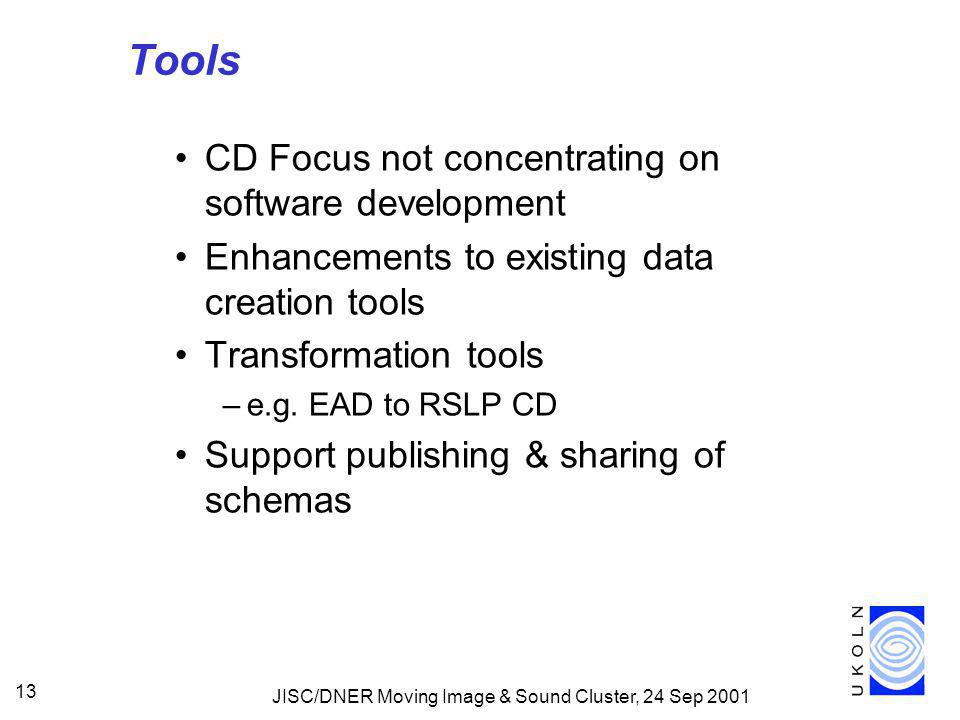 JISC/DNER Moving Image & Sound Cluster, 24 Sep 2001 13 Tools CD Focus not concentrating on software development Enhancements to existing data creation tools Transformation tools –e.g.